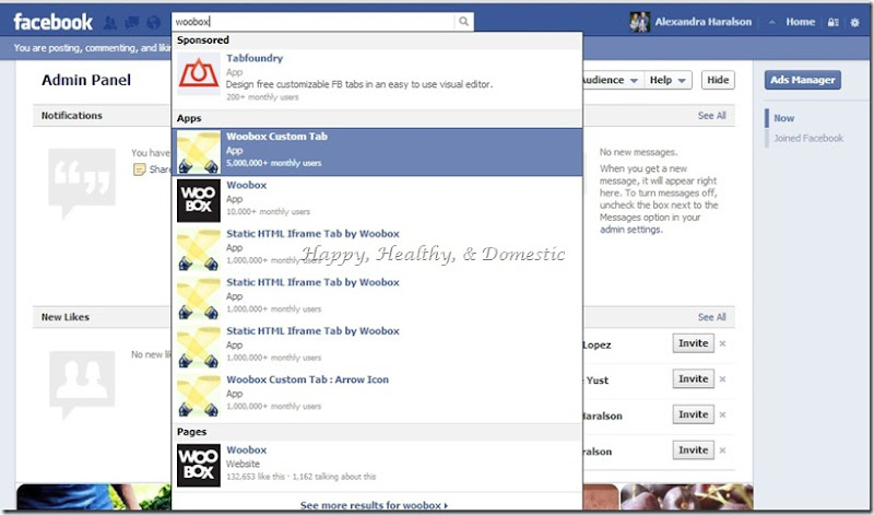 2 Custom FB app tabs search woobox