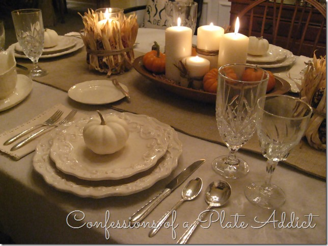 CONFESSIONS OF A PLATE ADDICT Thanksgiving Tablescape...Cream with Natural Elements