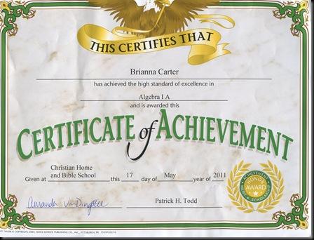 B math achievement award