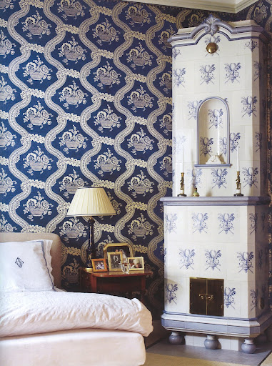 Porcelain dreams: palette of blue and cream takes a bold turn in a Stockholm bedroom.