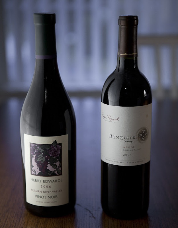 2006 Merry Edwards Russian River Valley Pinot Noir and 2007 Benziger Family Winery Sonoma Valley Merlot