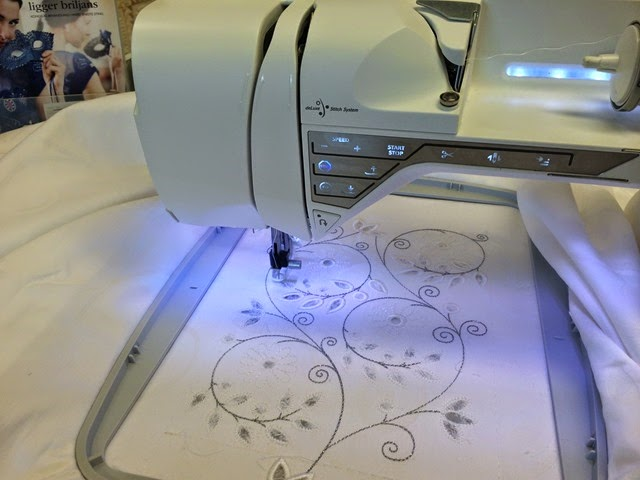 Here you can see the design in detail. Cutwork Needles are used to cut all the small holes.