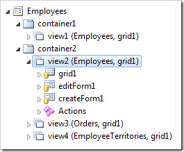 Child data view 'view2' on a master/detail page 'Employees' selected in Project Explorer
