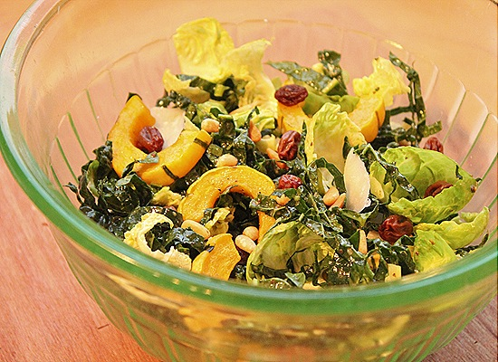 Kale & Brussels Sprout Salad with Delicata Squash and Other Good Things