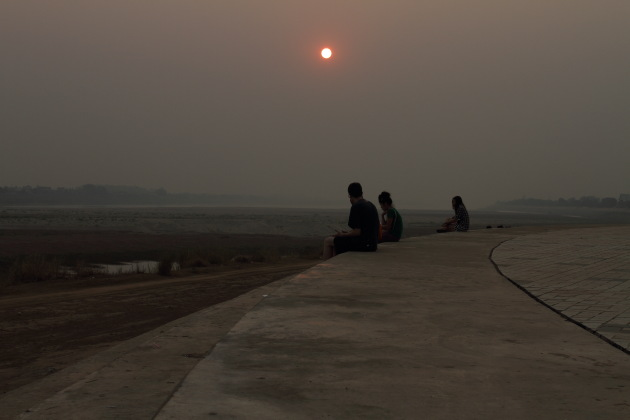 Hazy Sunset over the Mekong River at Vientiane, Laos