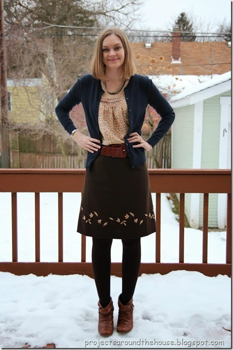 Navy Cardigan, Brown Skirt, Ankle boots