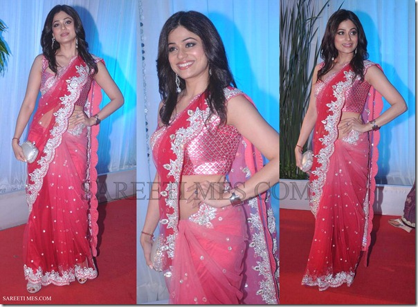 Shamita_Shetty_Embroidery_Pink_Shimmer_Saree
