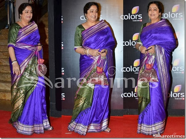Kirron_Kher_Blue_Silk_Saree