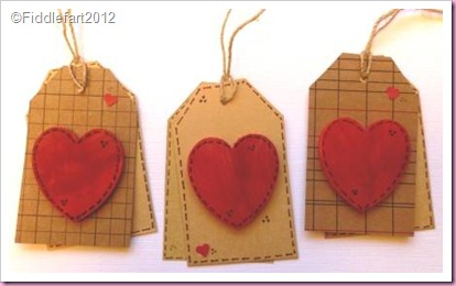 Wooden heart valentine tags