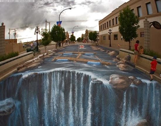 The Waterfall 3d pavement art