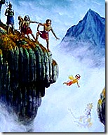 Prahlada thrown from a cliff