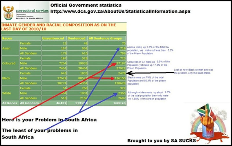 WHO ARE THE CRIMINALS IN SA INMATE RACIAL COMPOSITION OCT2010