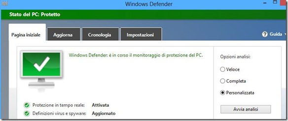 Windows Defender scansione personalizzata