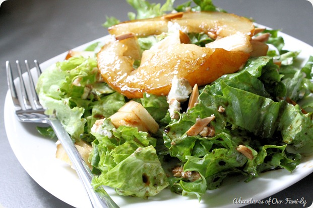 pear and goat cheese salad on a plate