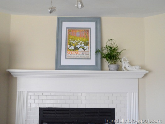 Spring in the Dunes over the fireplace...I still have a LOT more mantel styling to do!