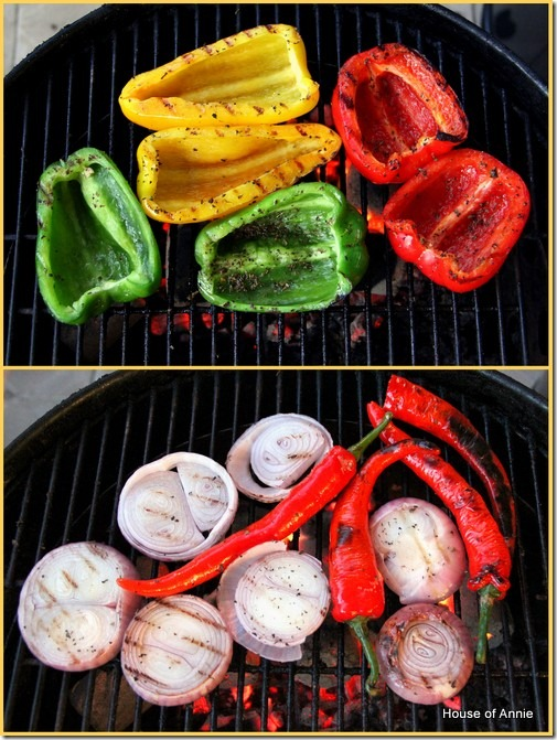 Grilling veggies for fajitas