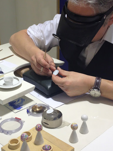 This craftsman from Meissen was on-hand at the shows to give people a look at just how much goes into there collections. He is hand-painting the dial of a watch!