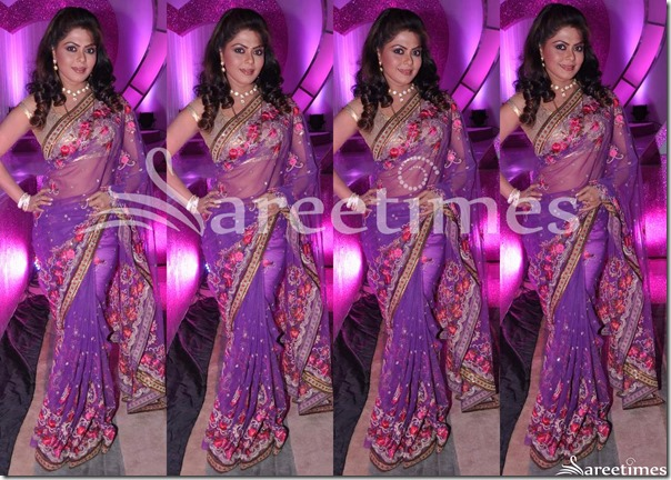 Magenta_Embroidery_Net_Saree