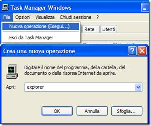 Task Manager File-Nuova operazione (Esegui…)