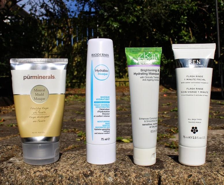 Pur-Minerals-Mud-Mask,Bioderma-Hydrabio-Mask,Zkin-Brightening Hydrating-Masque-Mask,REN-Flash-Rinse-1-minute-Facial