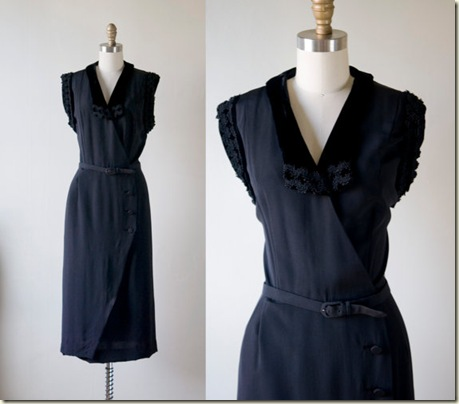 1940s Black cocktail dress $42 – I love this