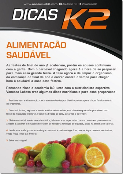 Dicas Saud&aacute;veis, k2, janeiro 2013