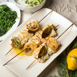 Turkish-Spiced Halibut Skewers With Yogurt Sauce