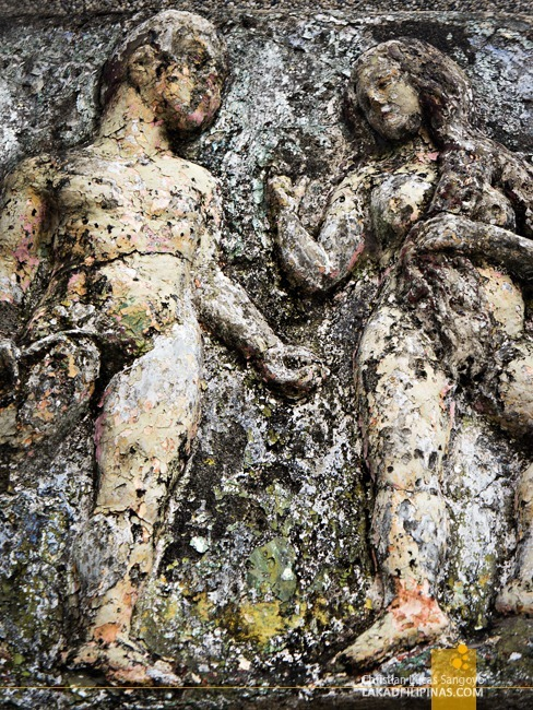 Crumbling Bas Relief of Adam and Eve