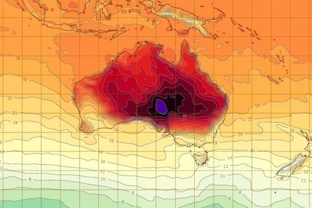 Australia BoM temperature map. More than 123 temperature records were broken during the summer of 2013. Graphic: BoM