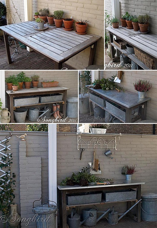 Songbird Galvanized Garden Table Makeover