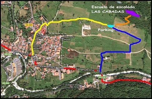 Mapa Escalada en Las Cabadas (Arenas de Cabrales, Asturias)