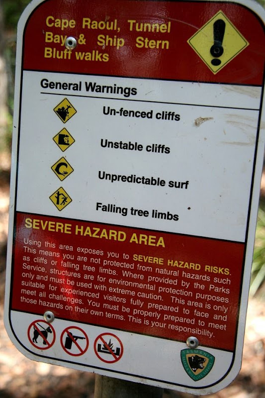 Danger warning sign Cliffs of Cape Raoul walk tasmania