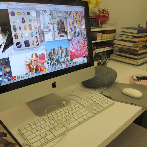 A snippet of my typical desktop goings-on. It's obvious that my eclectic desk reflects the work I do!