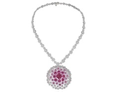Pink Sapphire,Diamond and Ruby Necklece
