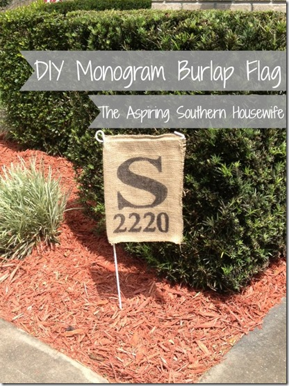 DIY Burlap Monogram Flag