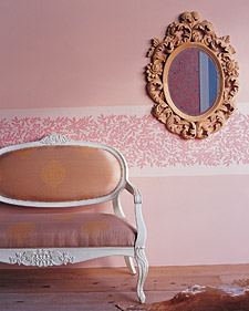 A instant chair rail is created with dramatic floral border paper. (Blueprint Magazine)