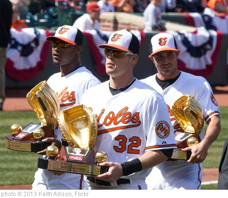 'Matt Wieters, Adam Jones, J.J. Hardy Gold Glove Awards' photo (c) 2013, Keith Allison - license: http://creativecommons.org/licenses/by-sa/2.0/