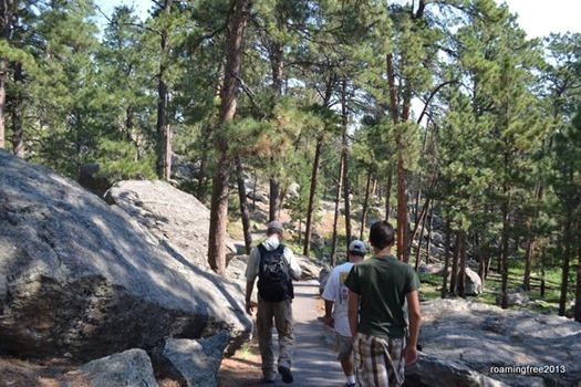 Walking through the boulder field