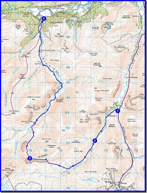 Saturday's route - 21km, 550m ascent, 6 hours