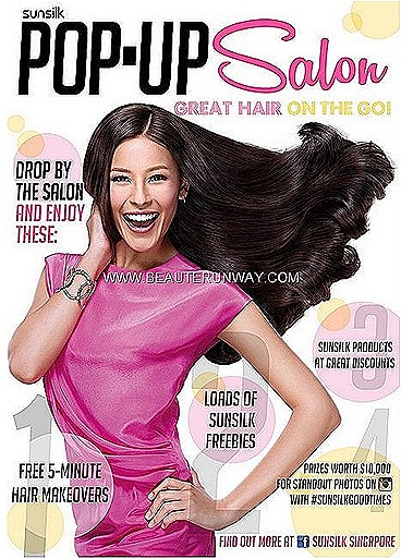Sunsilk Pop up Salon Hair Styling Service showcases the extensive Sunsilk hair care range and styling products bi phrase spray, leave in serum, treatments mask, shampoo conditioner luscious silky Smooth Manageable Nourishing damage