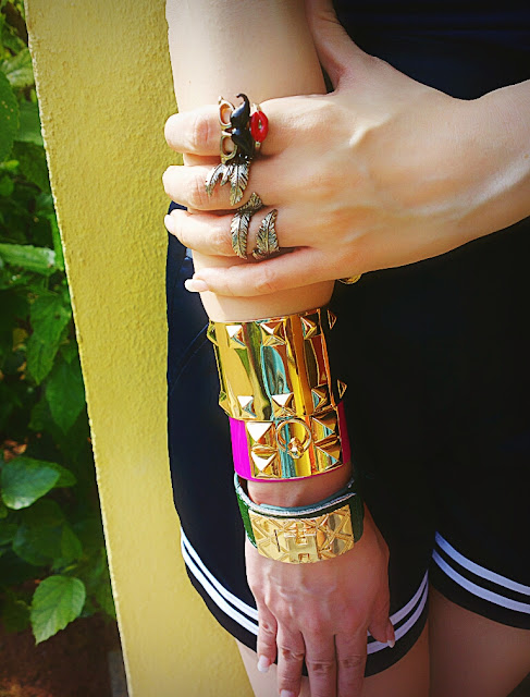 Mouth Rings Set Accessorize , Leaf Ring H&M, Bracelet Cuffs , Arm Candy