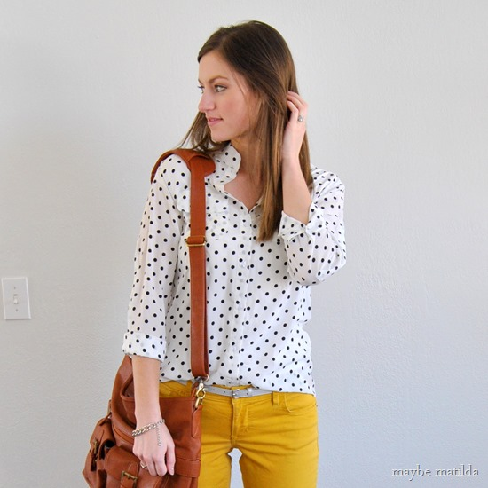 yellow pants + polka dot blouse