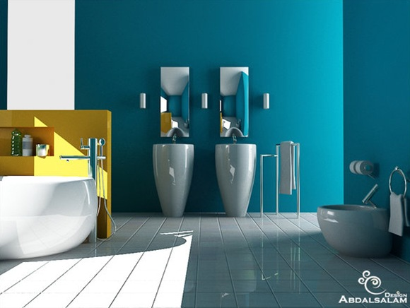 Blue-bathroom-Yellow-accent-wall