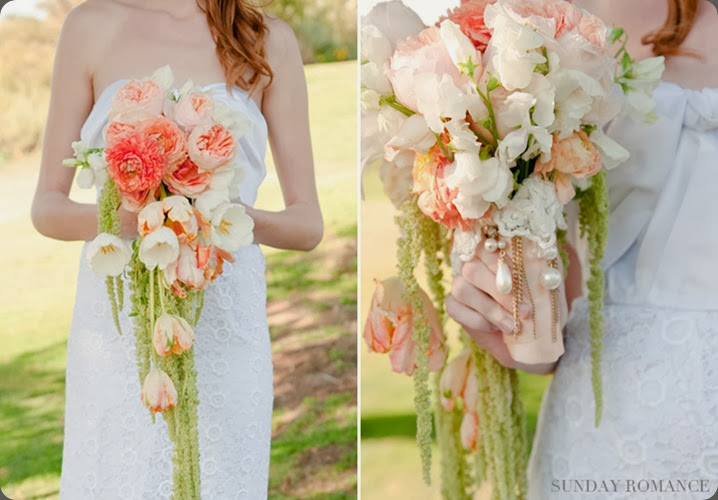 cascade peach-vintage-cascading-bouquet karen tran