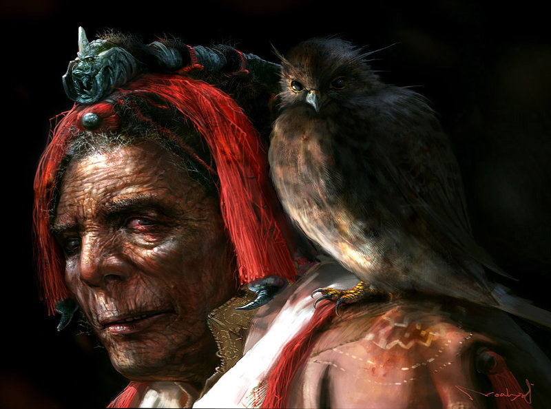 Old man and falcon by noah kh