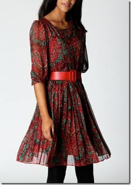 Karen Paisley Print Belted Chiffon Dress