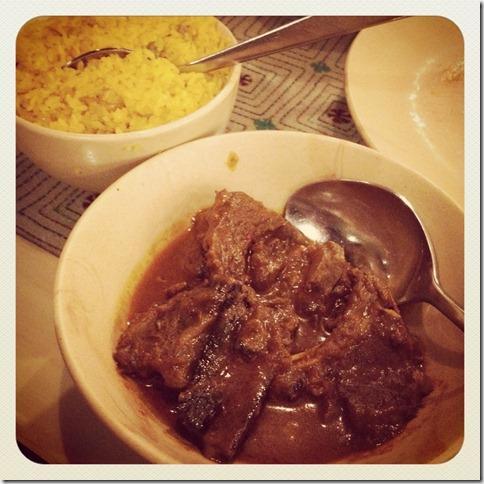 kosha manghso with pulao