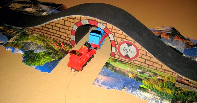 Cardboard train tunnel bridge Tracks for thomas - back of tunnel with mountains
