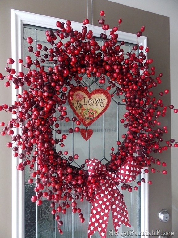 making a Christmas wreath work for Valentine's Day
