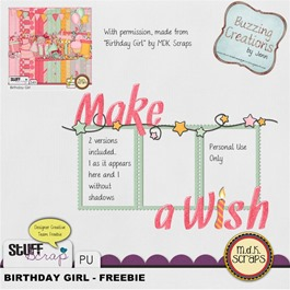 MDK Scraps - Birthday Girl - Freebie Preview